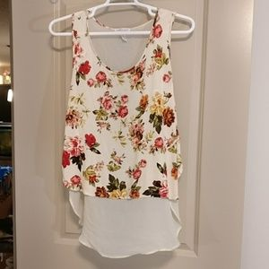 A ambiance apparel floral sheer tank top